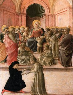 Fra Filippo Lippi  [Italian Early Renaissance Painter, ca.1406-1469]  Virgin and Child with Saints, Angels, and a Donor, circa 1437