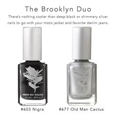Black and Silver Nails To Go, Nail Polish Kits, Silver Nails, You're Beautiful, Brooklyn, Skin Care, Bottle, Black, Silver Nail