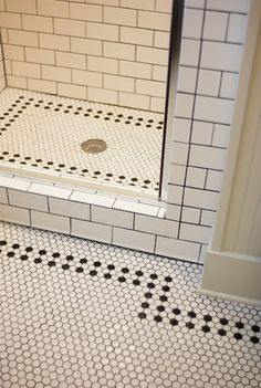 Adorable Vintage Bathroom Tile Patterns For Your Fabulous Bathroom : Amazing Bathroom Design Ideas With Rectangular White Brick Tile Bathroom Wall Along With Hexagon White Tile Bathroom Floor Design 1920s Bathroom, White Bathroom Tiles, Bathroom Tile Designs, Bathroom Floor Tiles, Bathroom Ideas, Modern Bathroom, Victorian Bathroom, Lowes Bathroom, Kitchen Tile