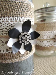Burlap & lace decorated tins for wedding favour potted plants