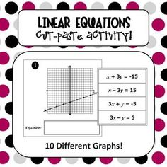 FREE Cut-Paste Activity for matching graphs to their correct linear equation.  Students will practice identifying slope, y-intercept, and working with equations in standard form.