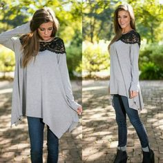 Gray long sleeve top with black lace Gray long sleeve flowing top with black lace.   These are NWOT Retail. Price Firm Unless Bundled. Measurements available upon request. Tops Tunics