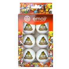 Look at this awesome gift for him! 6 Official Poop Emoji Novelty Golf Balls available for only £9.99 delivered on Ebay!