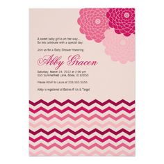 Super cute pink chevron and flower girl baby shower invitation   Created by alittletreasure