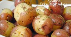 Durfee Family Recipes: Garlic and Butter Steamed Baby Red Potatoes Butter Garlic Potatoes, Baked Red Potatoes, Steamed Potatoes, Parmesan Roasted Potatoes, Red Potatoes Microwave, Potatoes In Oven, Baby Potato Recipes, Sausages In The Oven, Steam Recipes