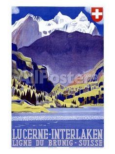 Swiss Alps Lucerne Travel Poster Giclée-Druck bei AllPosters.de
