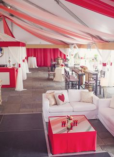 red, white, and gold lounge area | Tim Will #wedding