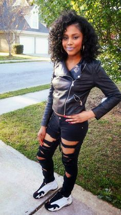 Black Motorcycle Jacket, Distressed Jeans, and Jordan tennis shoes
