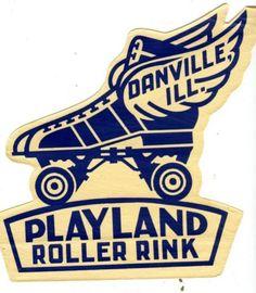 Vintage-Roller-Skate-Case-Label-PLAYLAND-ROLLER-RINK-Danville-Ill