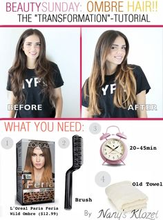 Nany's Klozet: Beauty Sunday: Ombré Hair- The Video Tutorial . Ombre Hair At Home, Diy Ombre Hair, Ombre Hair Color, Hair Colour, Onbre Hair, Hair Dos, Diy Hairstyles, Pretty Hairstyles, Ombre Hair Tutorial
