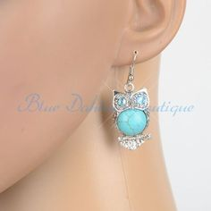 Owl Turquoise silver toned earrings  is going up for auction at 11am Wed, Apr 3 with a starting bid of $6.