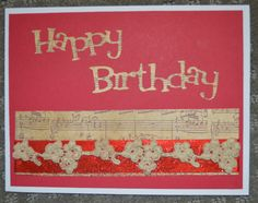 Card using crochet flower trim and ribbon