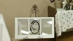 "Mirror frame with Bride & Grooms name and wedding date. Available from Kinder Creations ""Mike & I"" find us on Facebook. Vintage Windows, Find Us On Facebook, Grooms, Bride, Amp, Mirror, Crafts, Wedding, Home Decor"
