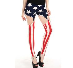 Sexy Patriotic Suspender Sexy Legging. Material:Polyester,Spandex. Size:One size fits for S-M ,Size may be 2cm/1 inch inaccuracy due to hand measure. Color:As shown in the pictures, Color may be little different due to monitor. Want to be the most charming lady with pretty body line? Our sexy lingerie will help you show a pretty bust and thin waist. Unique design and exquisite craft make the sexy lingerie very good to wear for long time. These sexy lace dress can show your unique taste.