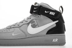 Nike Air Force 1 Mid LV8 GS 'Overbranding' Cool Glray AV3803 001 - Hookicks Air Force 1 Mid, Nike Air Force, Yeezy 350 V2 Black, New Nike Air, Jordan 4, Air Jordans, Sneakers Nike, Shoes, Nike Tennis