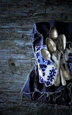 indigo blue & white
