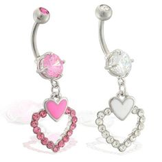 Navel ring with dangling jeweled double hearts Heart Piercing, Navel, Belly Button Rings, Dangles, Hearts, Jewels, Belly Button, Bijoux, Gemstones