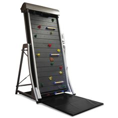 Climbing wall treadmill. Great idea for kids, older adults, those with fears of heights, or even for an expensive home gym!