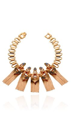 Rose Gold Plated Flapper Fringe Necklace by Mawi for Preorder on Moda Operandi
