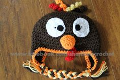 My Creative Side: Turkey Hat {FREE PATTERN} Hank has this hat and Aiden decided he would like as well! Crochet Kids Hats, Crochet Fall, Holiday Crochet, Crochet Crafts, Yarn Crafts, Free Crochet, Knit Crochet, Crocheted Hats, Halloween Crochet