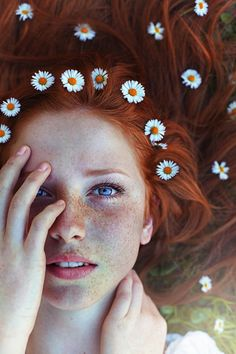 The girl with flowers in her hair...