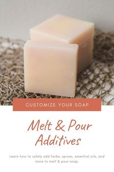 How to make melt and pour soap and add additives. This is for beginners and advanced users. Get ideas for what you can add, including essenital oils, natural colorants, herbs, and spices. How to use additives to make a custom bar of soap. Handmade Soap Recipes, Soap Making Recipes, Handmade Soaps, Diy Soaps, Handmade Soap Packaging, Handmade Headbands, Handmade Crafts, Handmade Rugs, Soap Colorants