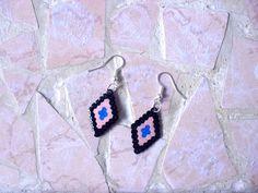 Boucles d'oreilles, noir, beige rosé, bleu - 075-1 de Couleurs et passion sur DaWanda.com