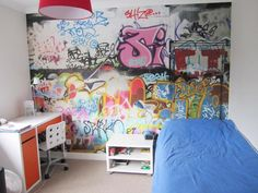 graffiti wallpaper makes fantastic wall art. Create bespoke pieces too! Ideal for children's bedrooms