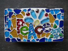 Peace Blue Red Yellow Glitter Keepsake Mosaic by StarStruckMosaics, $40.00