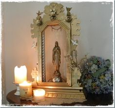 Shrine of gold made from vintage elements. Old clock body. Great recycle use.