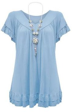 Womens Plus Size Frill Necklace Gypsy Tunic V Neck Top