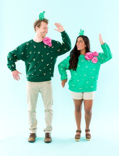 Check out this step-by-step DIY for making your own Cactus couples costume. #partner
