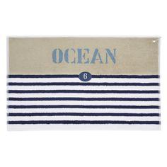 Alfombra de baño azul de rayas de algodón 50 × 80cm OCÉAN
