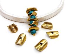 Brass Antique Irregular Metal Curved Disk Bead Wavy Disc by vess65
