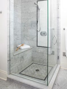 I love this shower because it opens up the bathroom and showcases the beautiful tile work. Plus, the extra large space would help with bathing my small children.