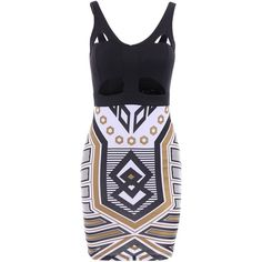 Sexy Plunging Neck Sleeveless Spliced Printed Bodycon Women's Dress ($19) ❤ liked on Polyvore featuring dresses, sleeveless bodycon dress, sexy dresses, no sleeve dress, body conscious dress and blue bodycon dress