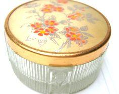 Vintage powder box glass art deco //trinket box// dressing table accessory
