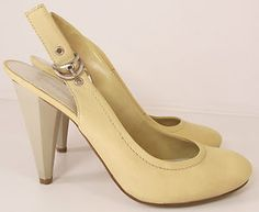NINE WEST CREAM LEMON LEATHER SLING BACK COURT SHOES HEELED SANDALS UK R10933 http://stores.ebay.co.uk/Sangriasuzies-Emporium http://www.sangriasuzie.com/ If any of the  items pictured in this blog/pin take your fancy they can be bought from one of the above addresses.  Or email me at drobertshq@hotmail.com   if you need more info.