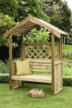 Pergola Ideas For Small Backyards Backyard Garden Design, Backyard Landscaping, Outdoor Seating, Outdoor Decor, Outdoor Living, Wooden Garden Planters, Garden Benches, Gazebo Plans, Garden Structures