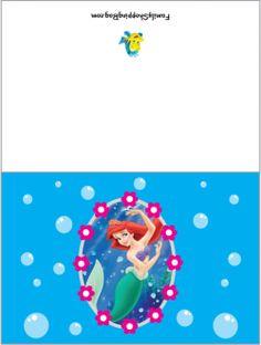 CardLittle Mermaid, Little Mermaid, Invitations - Free Printable