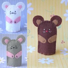 Mouse Finger Puppet - Select a color Brown or Grey or White or Request a Custom Color!  Give a little mouse a good home. This mouse does not mind cats but would prefer a home with a good supply of cheese. Each mouse is an individual with its own personality - so facial expressions and