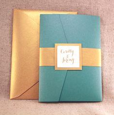 Wedding Invitation - Lovely Teal Peacock Blue Pocket-fold Wedding Invitation Set with Gold on Ivory on Etsy, $10.50