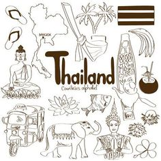 Illustration of Fun sketch collection of Thailand icons, countries alphabet vector art, clipart and stock vectors. Travel Doodles, Bullet Journal Travel, Thinking Day, Cool Sketches, Doodle Art, Vector Art, Illustration, Alphabet, How To Draw Hands