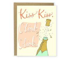 Kiss Kiss Clink Clink  Congrats Card by hellosmallworld on Etsy, $4.50