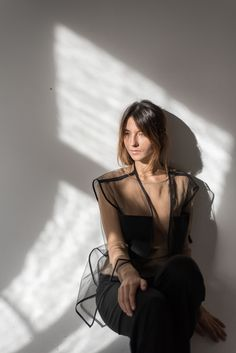 #sheer #daylight #minimal #model #studio #womansfashion #allblack #black #vest #outfit Black Vest, Minimal, Studio, Outfit, Model, Clothes, Tops, Fashion, Outfits