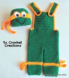 Crochet Ninja Turtle  Photo Prop  Baby Set  Ninja by HandMadeByDz, $50.00