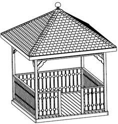 A pavilion hipped roof has four sloping planes that meet in a single point Gazebo Plans, Shed Plans, Cheap Gazebo, Raised Garden Beds, Garden Sheds, Porch Roof, Hip Roof, Interior Sketch, Tool Sheds