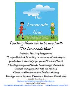 the lemonade war teacher s guide printable literature activities