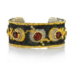 Victor Velyan: 24K Gold and Silver  Bracelet in Brown Patina  Peridot, Diamond and Keshi Pearl
