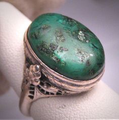 Antique Turquoise Ring Vintage Victorian Art Deco Filigree c.1920 Wedding.  Antique vintage, estate jewelry, retro art deco, engagement ring, sterling silver, filigree setting, natural gemstone, blue green, old turquoise, victorian edwardian, fine jewelry.  Purchase Now at Aawsomblei Antique Jewelry.